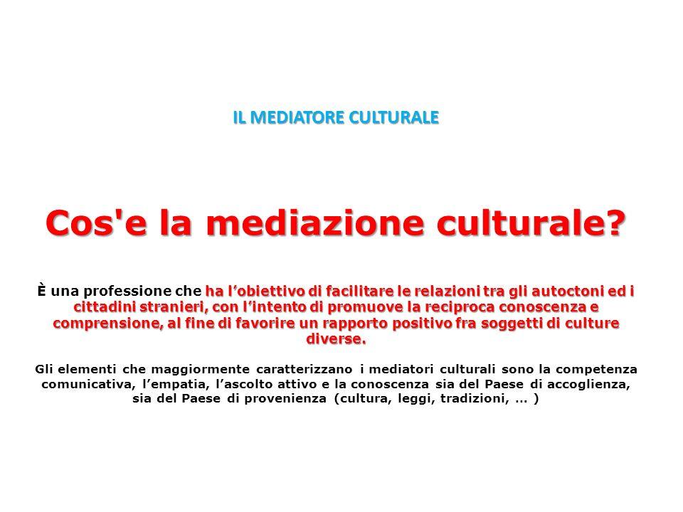 Cos'e la mediazione culturale? ha lobiettivo di facilitare le relazioni tra gli autoctoni ed i cittadini stranieri, con lintento di promuove la recipr