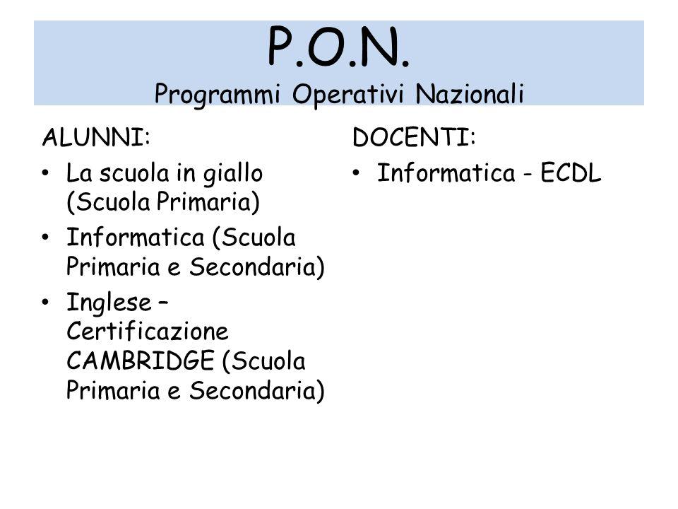 P.O.N. Programmi Operativi Nazionali ALUNNI: La scuola in giallo (Scuola Primaria) Informatica (Scuola Primaria e Secondaria) Inglese – Certificazione