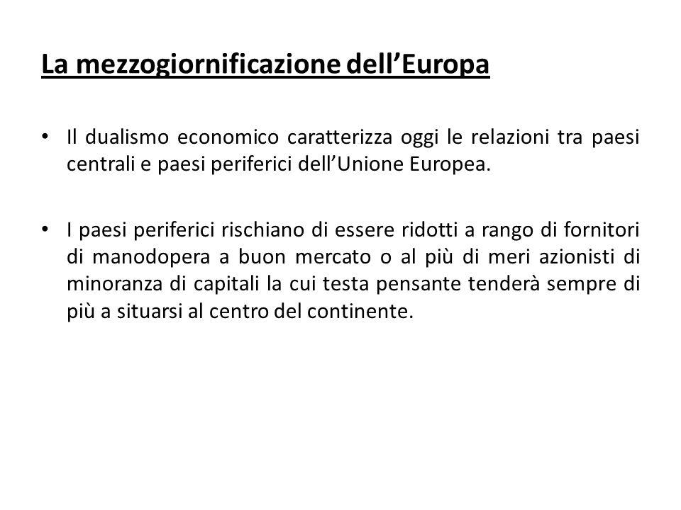 La mezzogiornificazione dellEuropa Il dualismo economico caratterizza oggi le relazioni tra paesi centrali e paesi periferici dellUnione Europea.