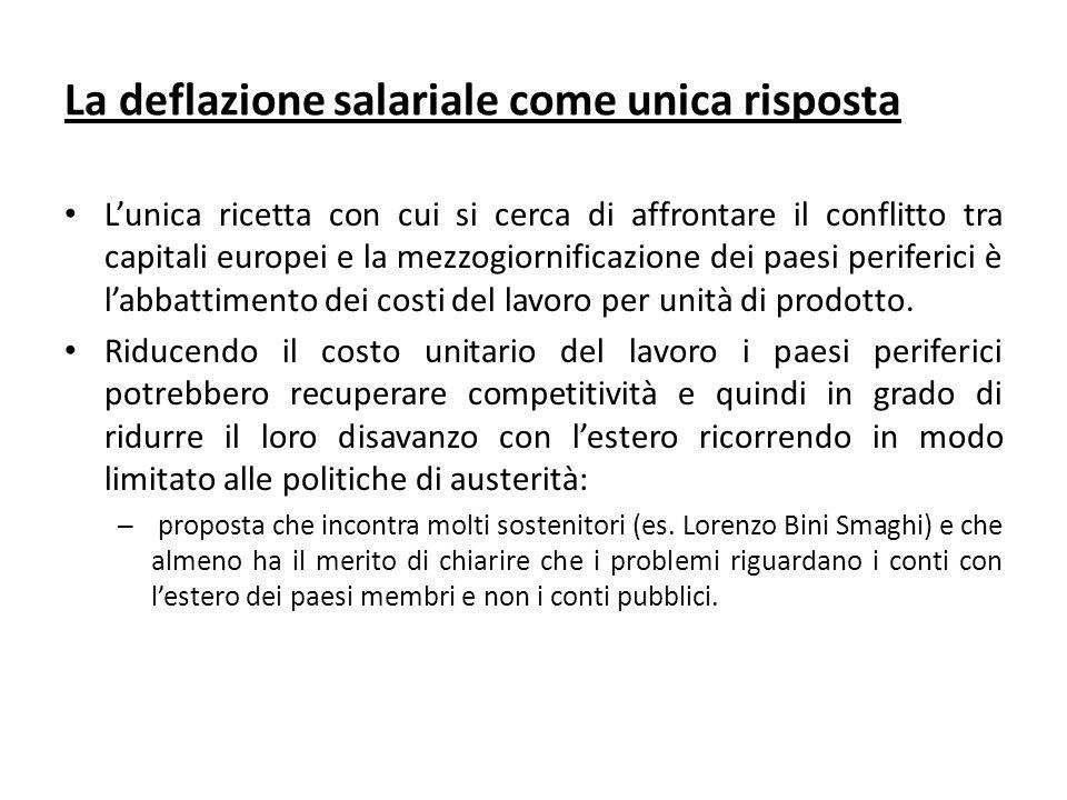 La deflazione salariale come unica risposta Lunica ricetta con cui si cerca di affrontare il conflitto tra capitali europei e la mezzogiornificazione dei paesi periferici è labbattimento dei costi del lavoro per unità di prodotto.