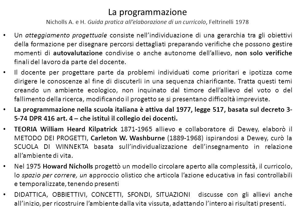 La programmazione Nicholls A. e H. Guida pratica allelaborazione di un curricolo, Feltrinelli 1978 Un atteggiamento progettuale consiste nellindividua