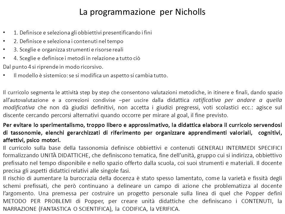 La programmazione per Nicholls 1. Definisce e seleziona gli obbiettivi presentificando i fini 2. Definisce e seleziona i contenuti nel tempo 3. Scegli