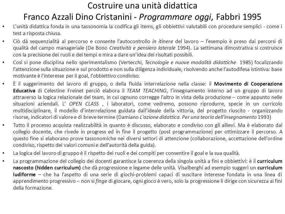 Costruire una unità didattica Franco Azzali Dino Cristanini - Programmare oggi, Fabbri 1995 Lunità didattica fonda in una tassonomia la codifica gli i