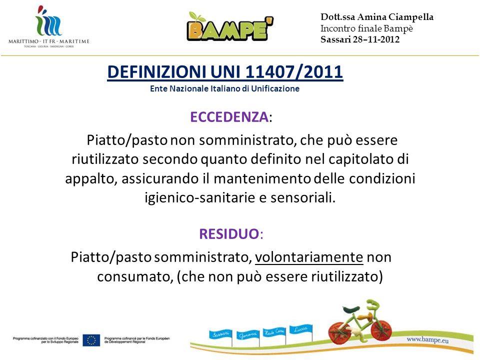 Dott.ssa Amina Ciampella Incontro finale Bampè Sassari 28–11-2012 DEFINIZIONI UNI 11407/2011 Ente Nazionale Italiano di Unificazione ECCEDENZA: Piatto