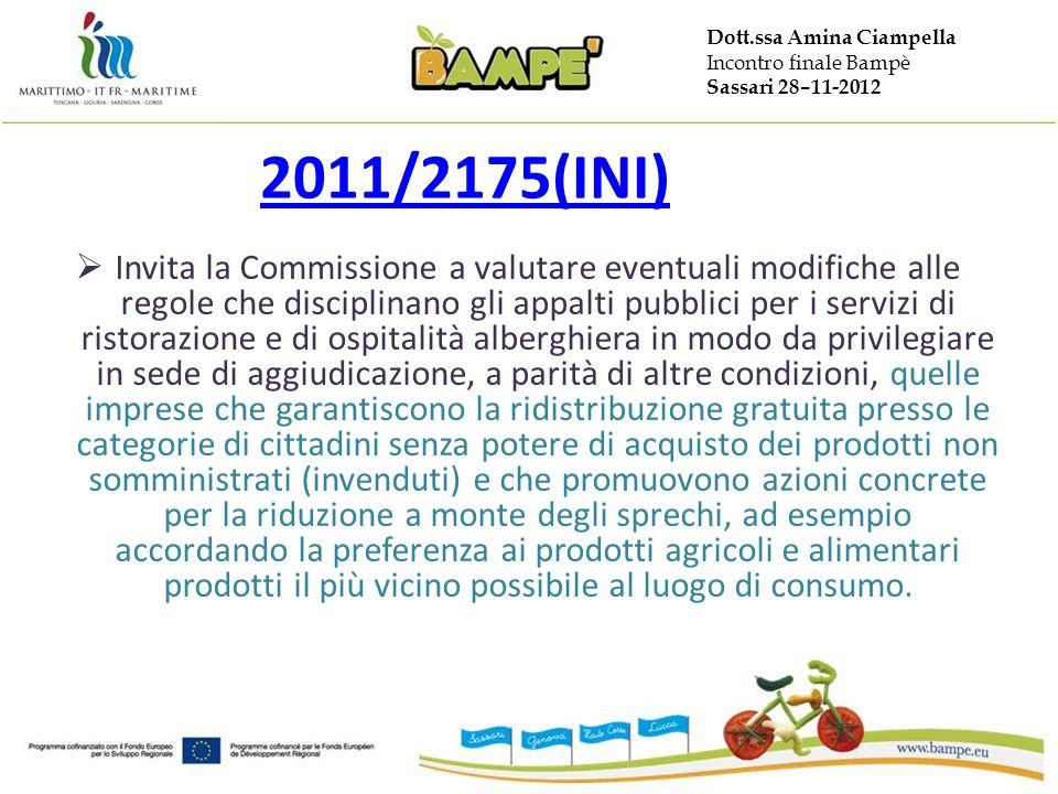 Dott.ssa Amina Ciampella Incontro finale Bampè Sassari 28–11-2012 2011/2175(INI) Invita la Commissione a valutare eventuali modifiche alle regole che