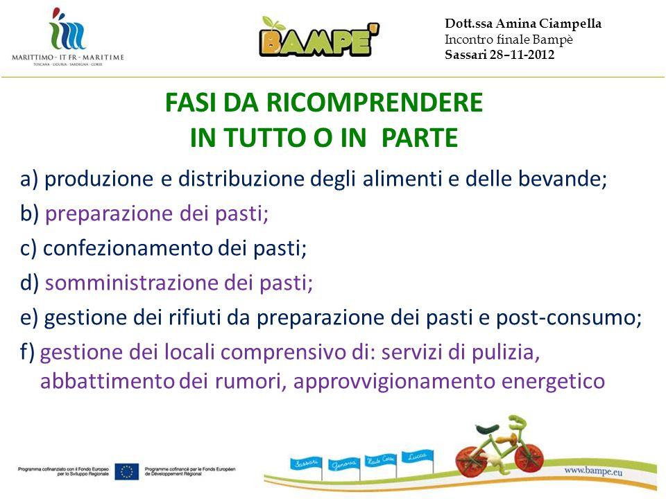 Dott.ssa Amina Ciampella Incontro finale Bampè Sassari 28–11-2012 FASI DA RICOMPRENDERE IN TUTTO O IN PARTE a) produzione e distribuzione degli alimen