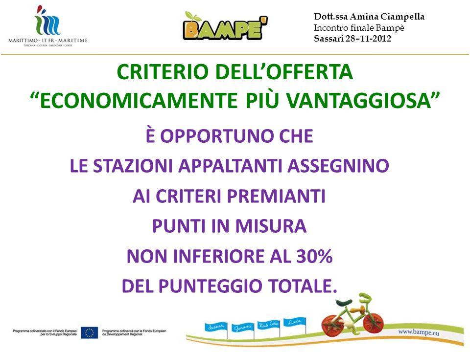 Dott.ssa Amina Ciampella Incontro finale Bampè Sassari 28–11-2012 CRITERIO DELLOFFERTA ECONOMICAMENTE PIÙ VANTAGGIOSA È OPPORTUNO CHE LE STAZIONI APPALTANTI ASSEGNINO AI CRITERI PREMIANTI PUNTI IN MISURA NON INFERIORE AL 30% DEL PUNTEGGIO TOTALE.
