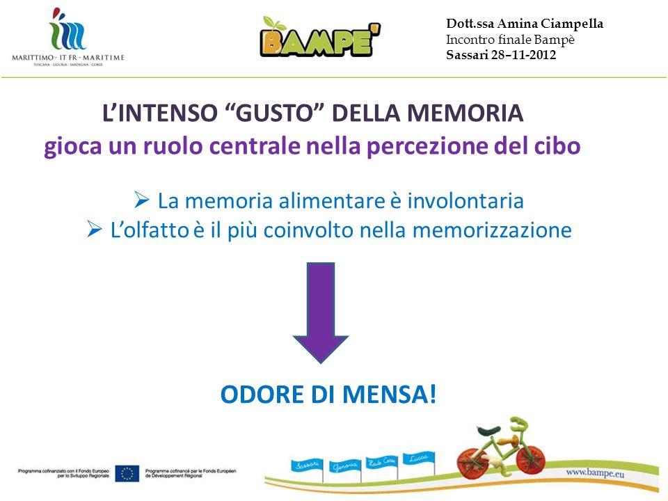 Dott.ssa Amina Ciampella Incontro finale Bampè Sassari 28–11-2012 LINTENSO GUSTO DELLA MEMORIA gioca un ruolo centrale nella percezione del cibo La memoria alimentare è involontaria Lolfatto è il più coinvolto nella memorizzazione ODORE DI MENSA!