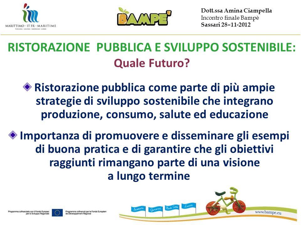 Dott.ssa Amina Ciampella Incontro finale Bampè Sassari 28–11-2012 RISTORAZIONE PUBBLICA E SVILUPPO SOSTENIBILE: Quale Futuro? Ristorazione pubblica co