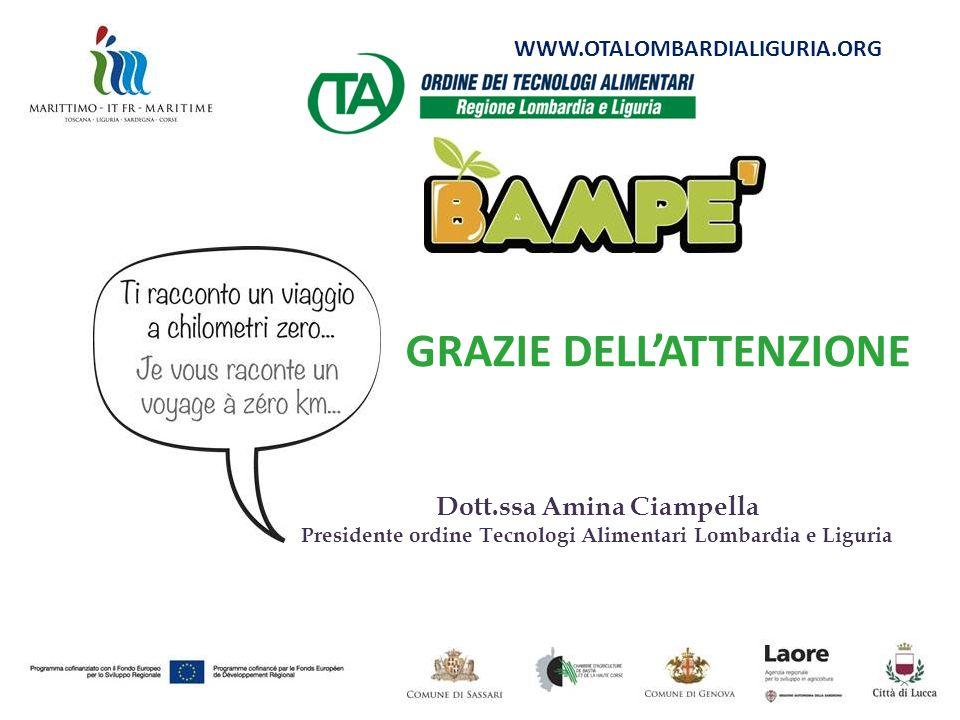 Dott.ssa Amina Ciampella Presidente ordine Tecnologi Alimentari Lombardia e Liguria GRAZIE DELLATTENZIONE WWW.OTALOMBARDIALIGURIA.ORG