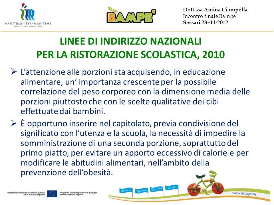 Dott.ssa Amina Ciampella Incontro finale Bampè Sassari 28–11-2012 LINEE DI INDIRIZZO NAZIONALI PER LA RISTORAZIONE SCOLASTICA, 2010 Lattenzione alle p