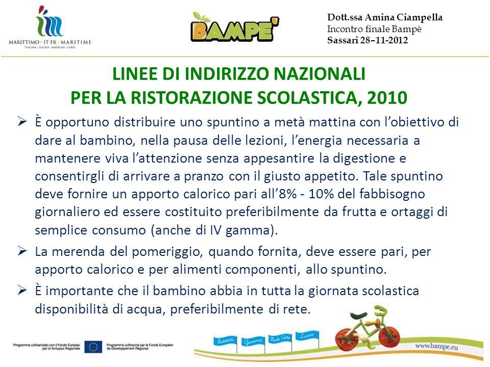 Dott.ssa Amina Ciampella Incontro finale Bampè Sassari 28–11-2012 LINEE DI INDIRIZZO NAZIONALI PER LA RISTORAZIONE SCOLASTICA, 2010 È opportuno distri
