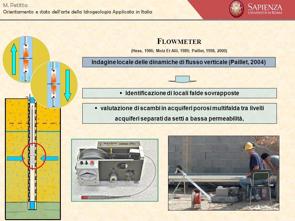 M. Petitta Orientamento e stato dellarte della Idrogeologia Applicata in Italia F LOWMETER (Hess, 1986; Molz Et Alii, 1989; Paillet, 1998, 2000) Indag