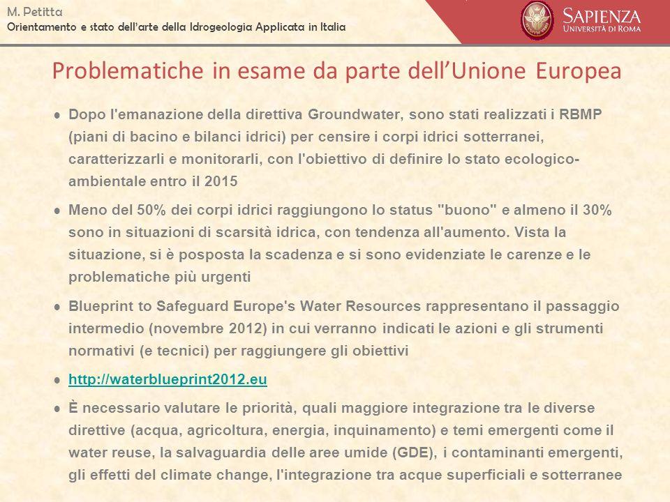 M. Petitta Orientamento e stato dellarte della Idrogeologia Applicata in Italia Problematiche in esame da parte dellUnione Europea Dopo l'emanazione d