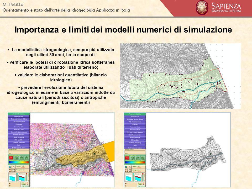 M. Petitta Orientamento e stato dellarte della Idrogeologia Applicata in Italia Importanza e limiti dei modelli numerici di simulazione La modellistic