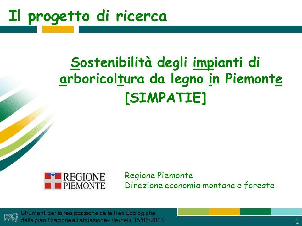 2 Il progetto di ricerca Sostenibilità degli impianti di arboricoltura da legno in Piemonte [SIMPATIE] Regione Piemonte Direzione economia montana e foreste