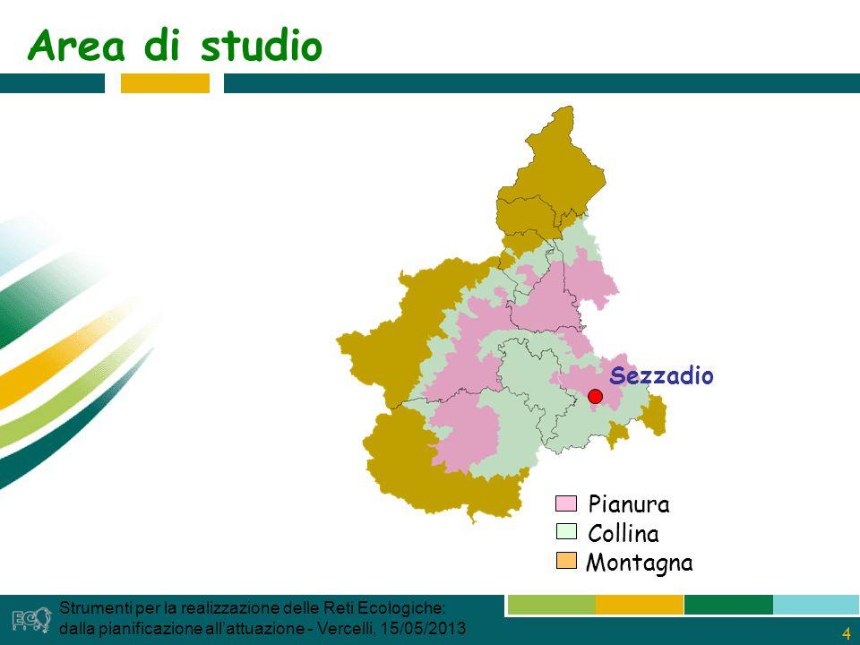 4 Area di studio Sezzadio Pianura Collina Montagna Strumenti per la realizzazione delle Reti Ecologiche: dalla pianificazione allattuazione - Vercelli, 15/05/2013