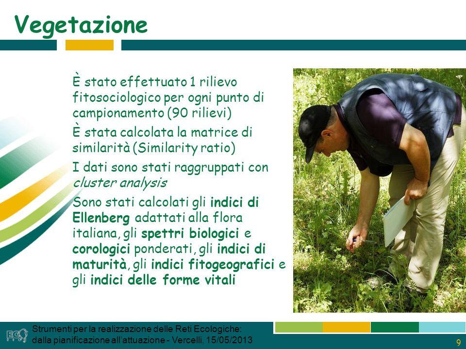 30 Carabidi – ricchezza specifica Strumenti per la realizzazione delle Reti Ecologiche: dalla pianificazione allattuazione - Vercelli, 15/05/2013