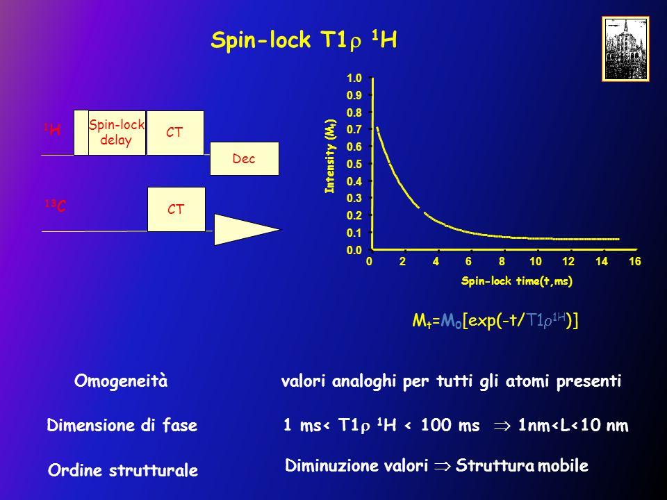 Spin-lock T1 1 H Omogeneità valori analoghi per tutti gli atomi presenti Dimensione di fase 1 ms< T1 1 H < 100 ms 1nm<L<10 nm Ordine strutturale Diminuzione valori Struttura mobile