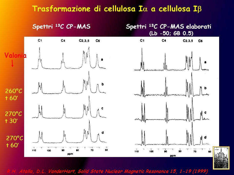 Trasformazione di cellulosa I a cellulosa I Spettri 13 C CP-MAS Spettri 13 C CP-MAS elaborati (Lb -50; GB 0.5) Valonia 260°C t 60 270°C t 30 270°C t 60 R.H.