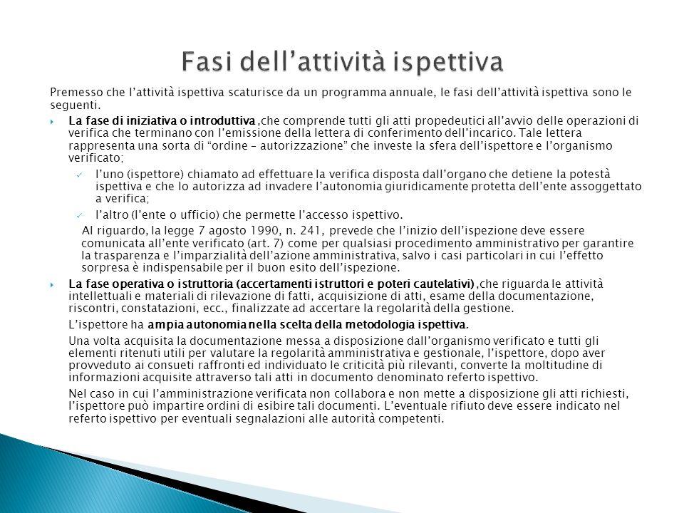 Premesso che lattività ispettiva scaturisce da un programma annuale, le fasi dellattività ispettiva sono le seguenti. La fase di iniziativa o introdut