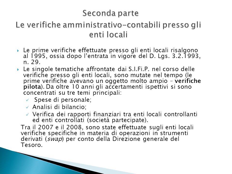 Le prime verifiche effettuate presso gli enti locali risalgono al 1995, ossia dopo lentrata in vigore del D. Lgs. 3.2.1993, n. 29. Le singole tematich
