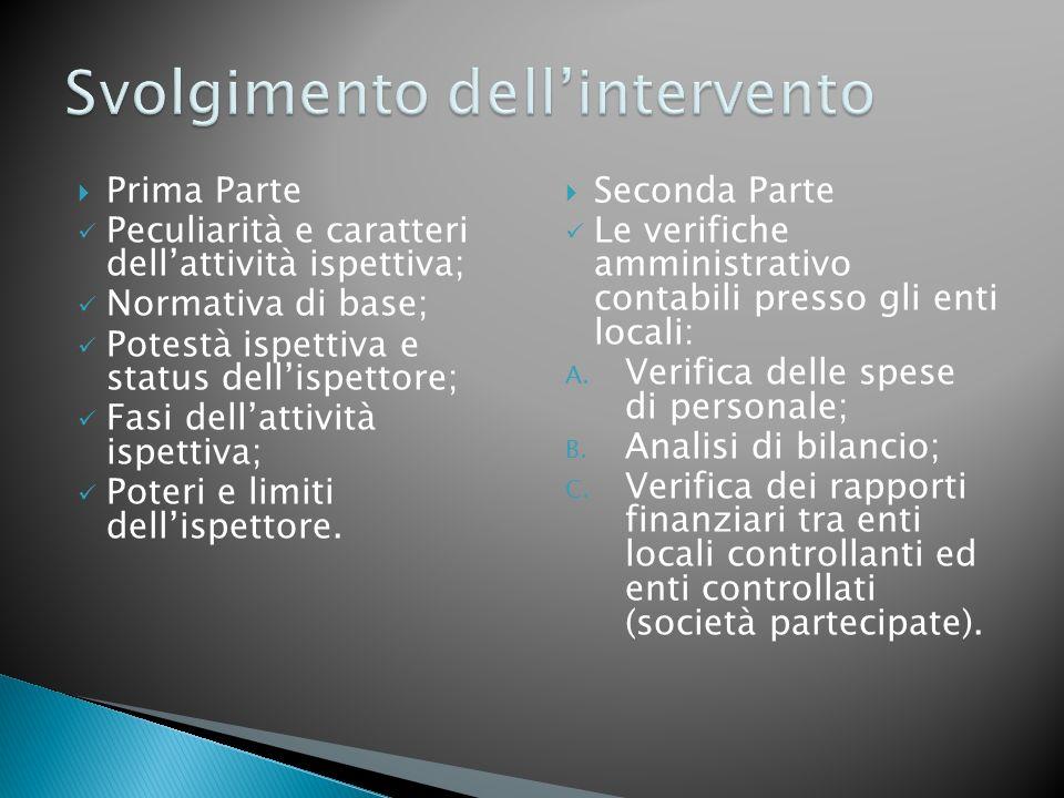 Prima Parte Peculiarità e caratteri dellattività ispettiva; Normativa di base; Potestà ispettiva e status dellispettore; Fasi dellattività ispettiva;