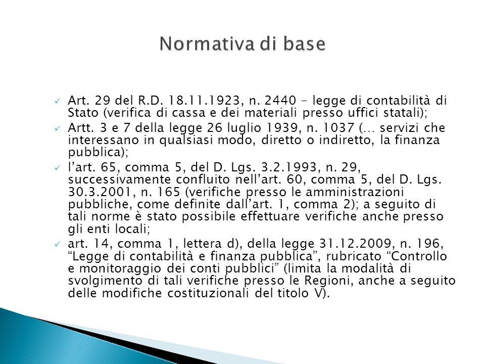 Art. 29 del R.D. 18.11.1923, n. 2440 - legge di contabilità di Stato (verifica di cassa e dei materiali presso uffici statali); Artt. 3 e 7 della legg