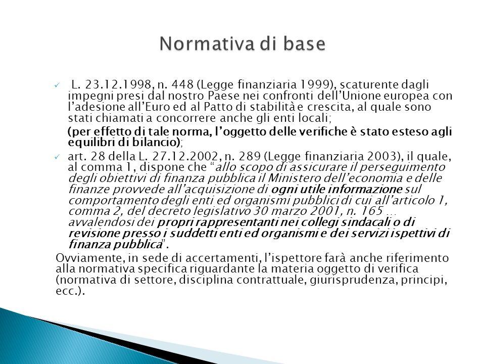 L. 23.12.1998, n. 448 (Legge finanziaria 1999), scaturente dagli impegni presi dal nostro Paese nei confronti dellUnione europea con ladesione allEuro