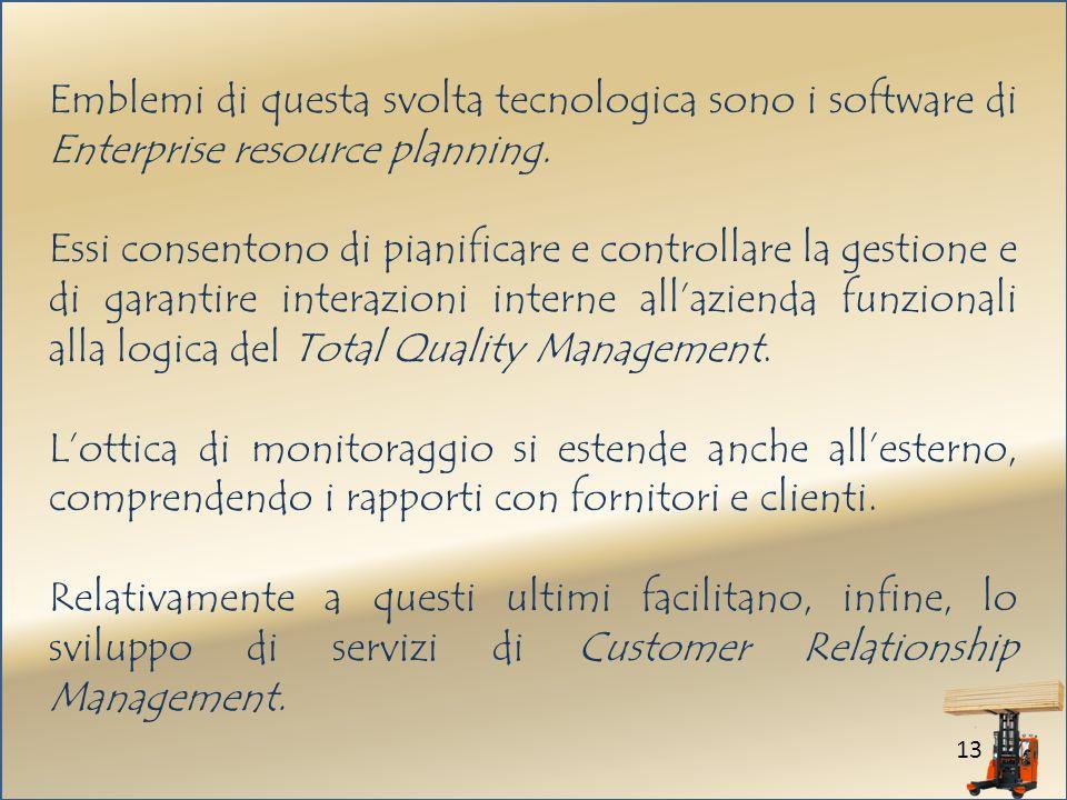 13 Emblemi di questa svolta tecnologica sono i software di Enterprise resource planning.