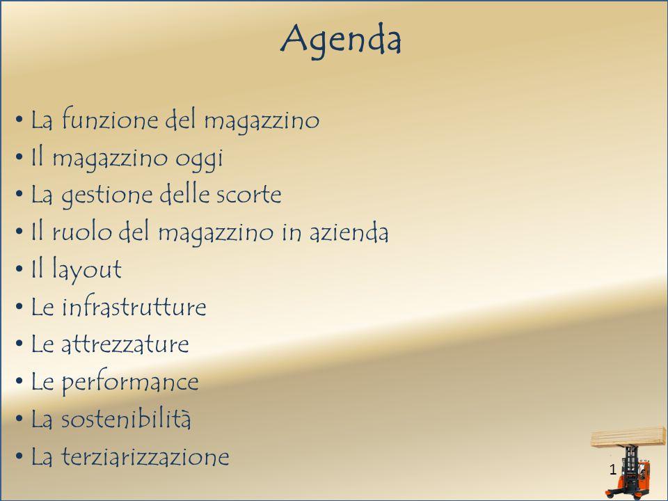 1 Agenda La funzione del magazzino Il magazzino oggi La gestione delle scorte Il ruolo del magazzino in azienda Il layout Le infrastrutture Le attrezzature Le performance La sostenibilità La terziarizzazione