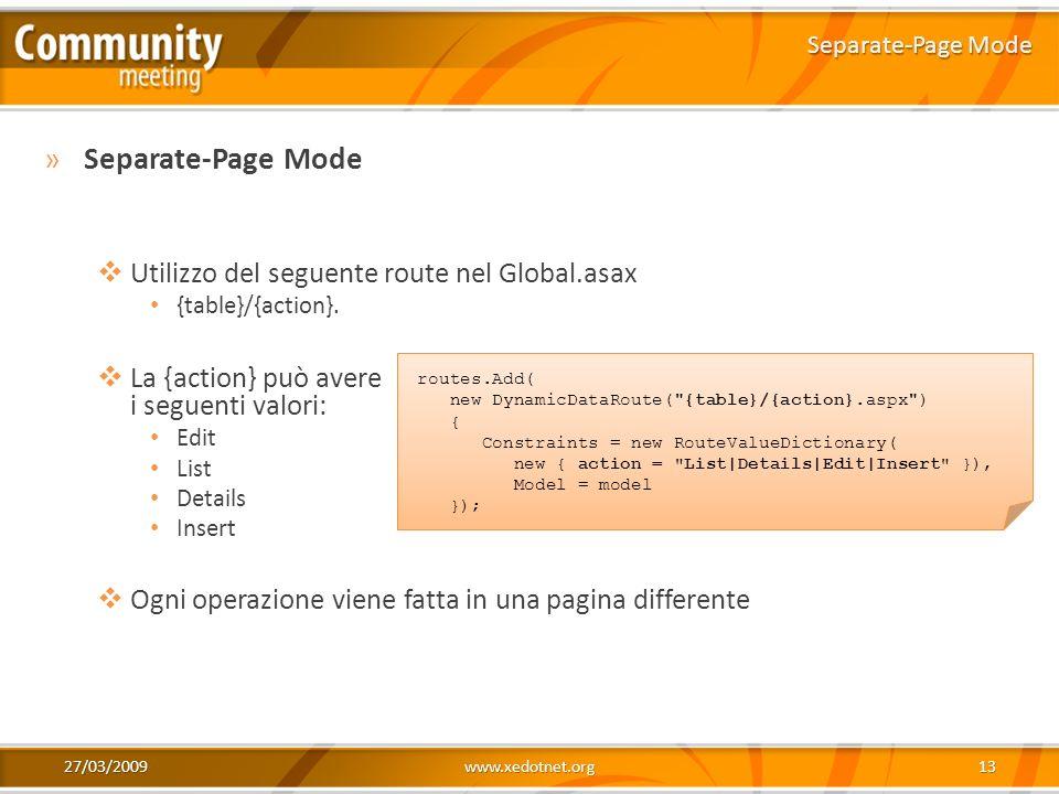 27/03/2009www.xedotnet.org13 »Separate-Page Mode Utilizzo del seguente route nel Global.asax {table}/{action}. La {action} può avere i seguenti valori