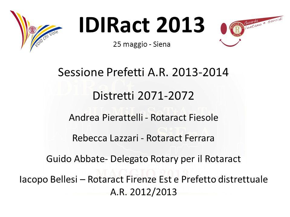 IDIRact 2013 25 maggio - Siena Sessione Prefetti A.R. 2013-2014 Distretti 2071-2072 Andrea Pierattelli - Rotaract Fiesole Rebecca Lazzari - Rotaract F