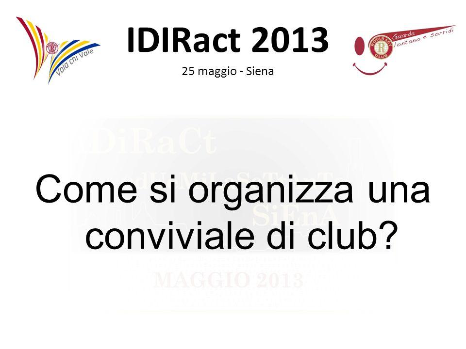 IDIRact 2013 25 maggio - Siena Come si organizza una conviviale di club?