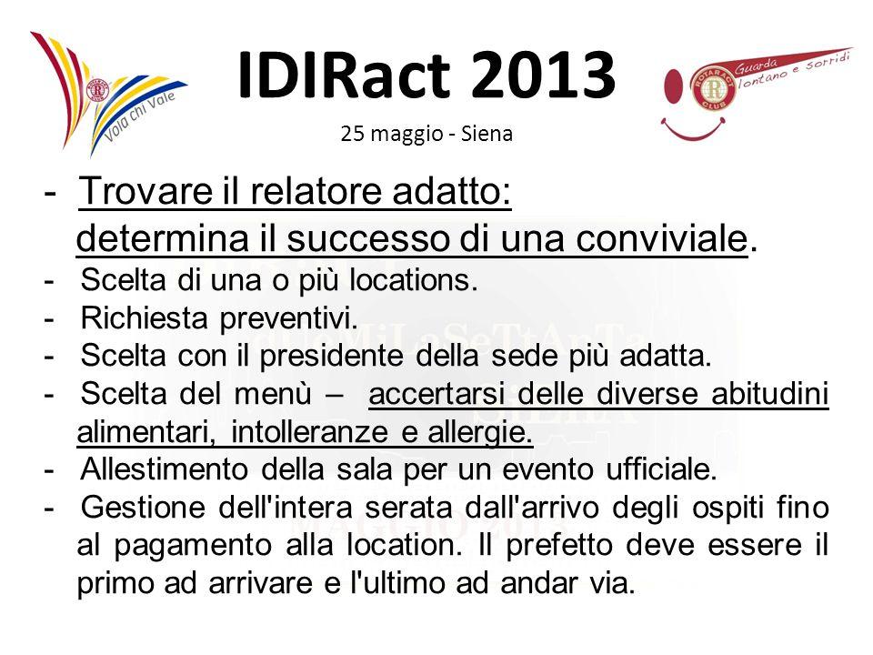 IDIRact 2013 25 maggio - Siena - Trovare il relatore adatto: determina il successo di una conviviale. - Scelta di una o più locations. - Richiesta pre