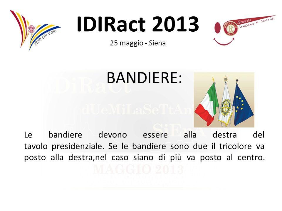 IDIRact 2013 25 maggio - Siena BANDIERE: Le bandiere devono essere alla destra del tavolo presidenziale. Se le bandiere sono due il tricolore va posto