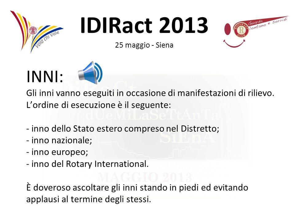 IDIRact 2013 25 maggio - Siena INNI: Gli inni vanno eseguiti in occasione di manifestazioni di rilievo. Lordine di esecuzione è il seguente: - inno de
