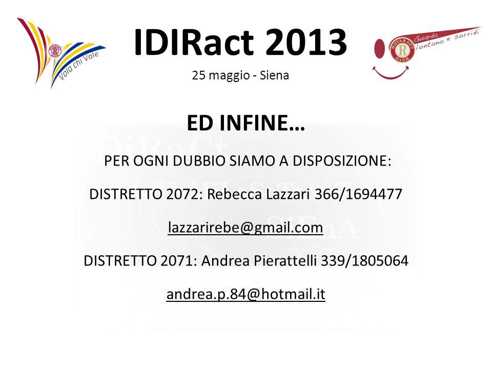 IDIRact 2013 25 maggio - Siena ED INFINE… PER OGNI DUBBIO SIAMO A DISPOSIZIONE: DISTRETTO 2072: Rebecca Lazzari 366/1694477 lazzarirebe@gmail.com DIST