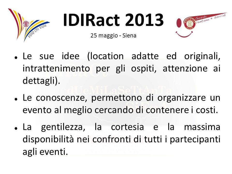 IDIRact 2013 25 maggio - Siena Le sue idee (location adatte ed originali, intrattenimento per gli ospiti, attenzione ai dettagli). Le conoscenze, perm
