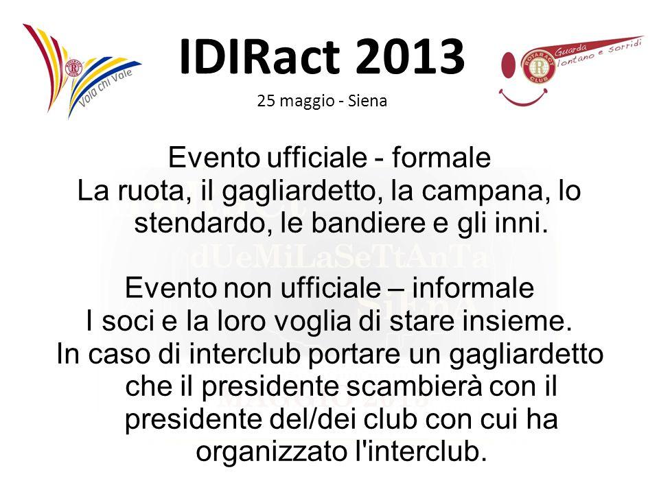 IDIRact 2013 25 maggio - Siena Evento ufficiale - formale La ruota, il gagliardetto, la campana, lo stendardo, le bandiere e gli inni. Evento non uffi