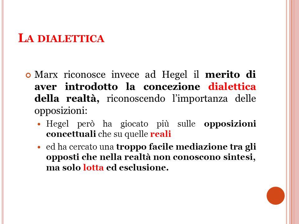 L A DIALETTICA Marx riconosce invece ad Hegel il merito di aver introdotto la concezione dialettica della realtà, riconoscendo limportanza delle oppos