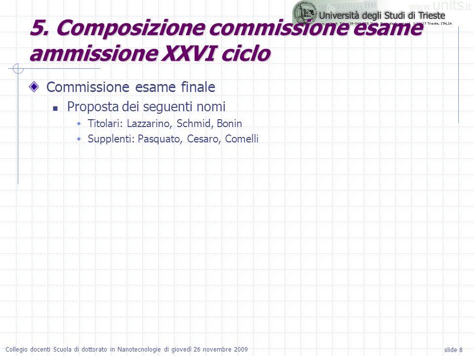 slide 8 Collegio docenti Scuola di dottorato in Nanotecnologie di giovedì 26 novembre 2009 Commissione esame finale Proposta dei seguenti nomi Titolari: Lazzarino, Schmid, Bonin Supplenti: Pasquato, Cesaro, Comelli 5.