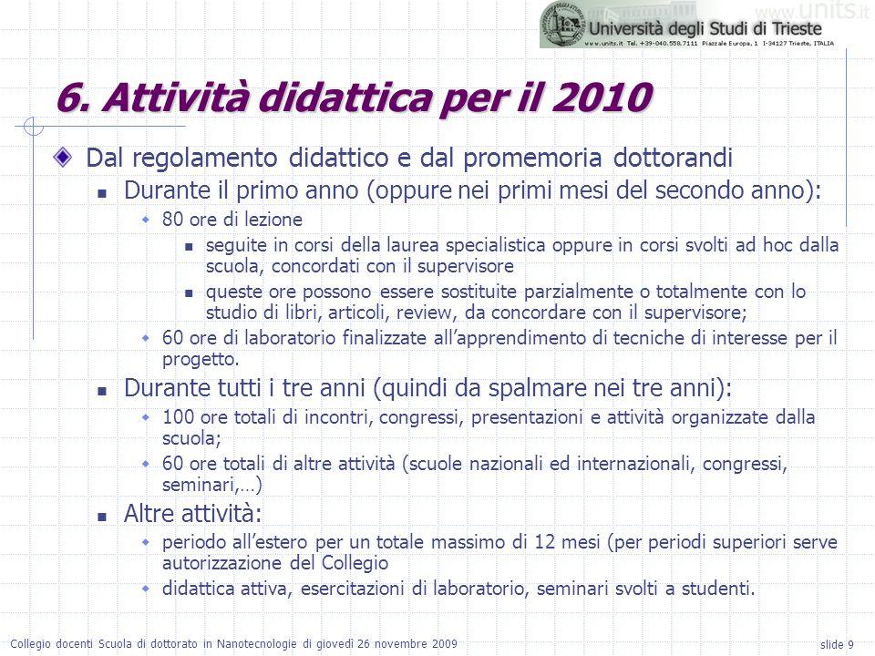 slide 9 Collegio docenti Scuola di dottorato in Nanotecnologie di giovedì 26 novembre 2009 6.