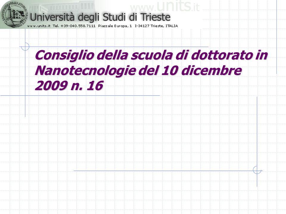 Consiglio della scuola di dottorato in Nanotecnologie del 10 dicembre 2009 n. 16