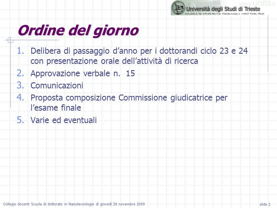 slide 2 Collegio docenti Scuola di dottorato in Nanotecnologie di giovedì 26 novembre 2009 1.