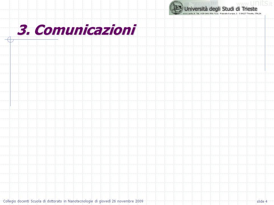 slide 4 Collegio docenti Scuola di dottorato in Nanotecnologie di giovedì 26 novembre 2009 3.