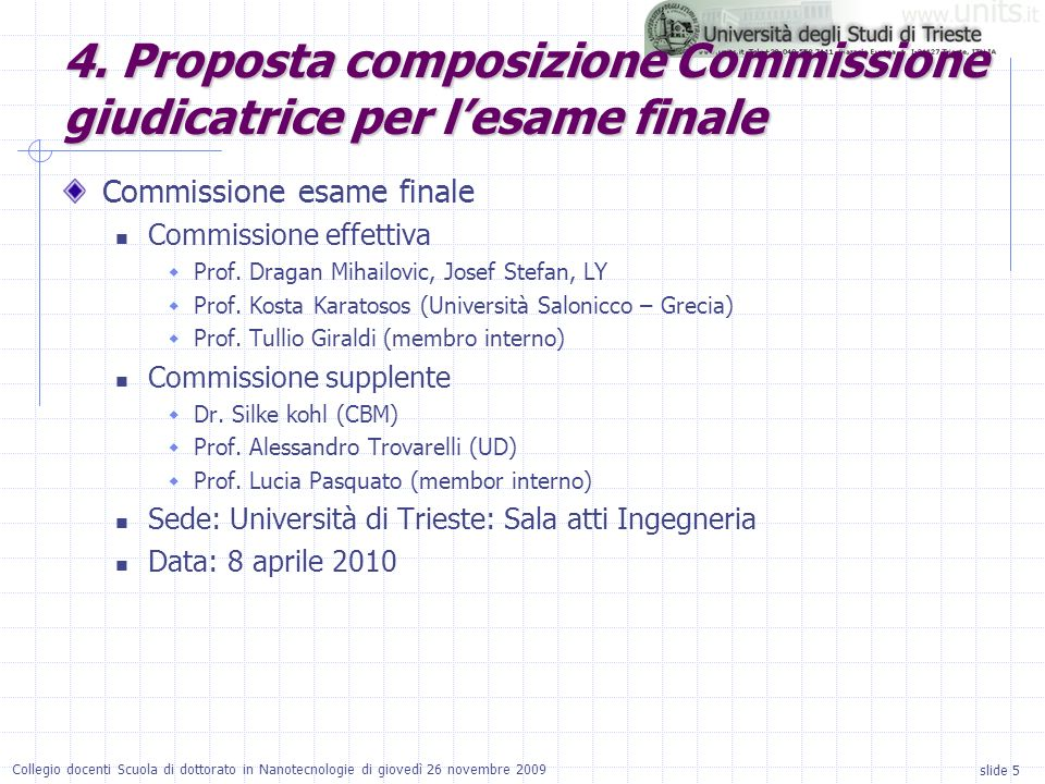 slide 5 Collegio docenti Scuola di dottorato in Nanotecnologie di giovedì 26 novembre 2009 Commissione esame finale Commissione effettiva Prof.