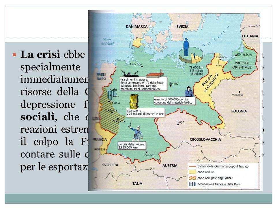 Crisi mondiale La crisi ebbe ripercussioni ovunque nel mondo, ma specialmente in Europa, dalla quale vennero immediatamente ritirati i capitali americ