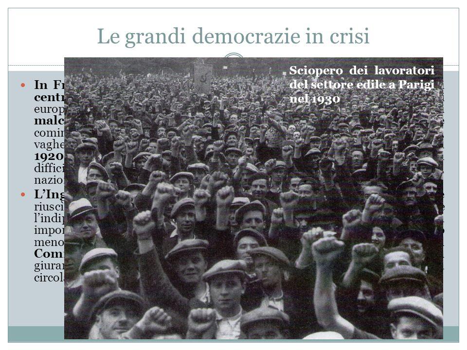 Le grandi democrazie in crisi In Francia, nel primo dopoguerra, si alternano al potere le forze di centro-destra e quelle di centro- sinistra. Come in