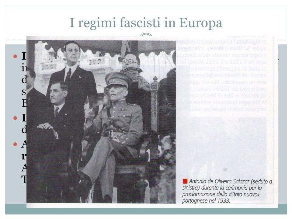 I regimi fascisti in Europa In Spagna, nel 1923, il generale Primo De Rivera instaurò un regime dittatoriale per porre fine con durezza sia ai disordi